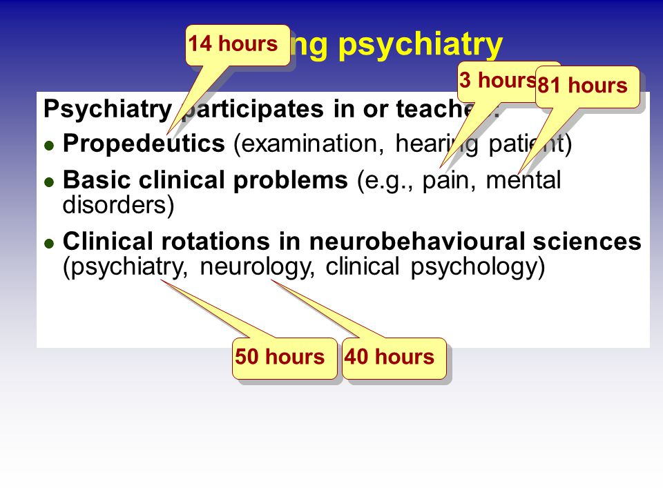 Teaching psychiatry Psychiatry participates in or teaches: Propedeutics (examination, hearing patient) Basic clinical problems (e.g., pain, mental disorders) Clinical rotations in neurobehavioural sciences (psychiatry, neurology, clinical psychology) 14 hours 3 hours 81 hours 50 hours 40 hours