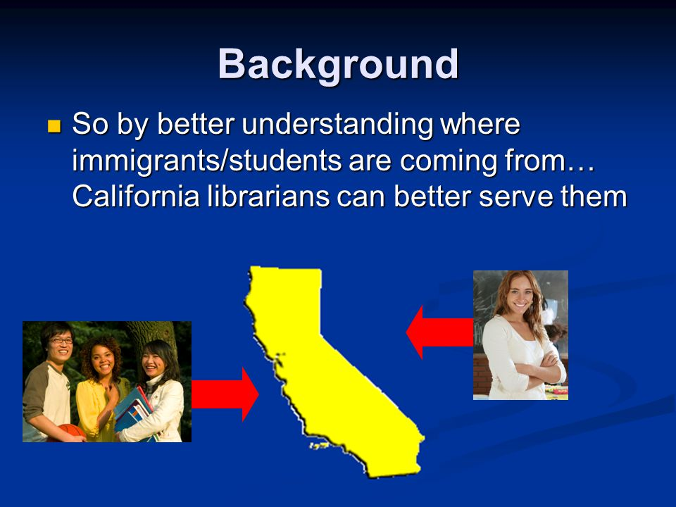 Background So by better understanding where immigrants/students are coming from… California librarians can better serve them So by better understanding where immigrants/students are coming from… California librarians can better serve them