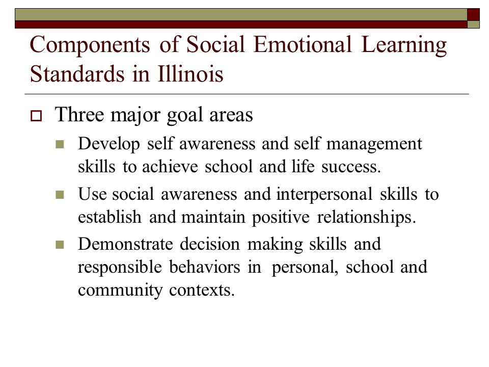 Components of Social Emotional Learning Standards in Illinois Three major goal areas Develop self awareness and self management skills to achieve scho