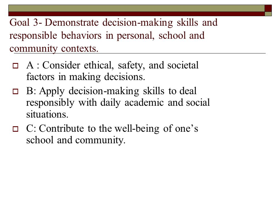 Goal 3- Demonstrate decision-making skills and responsible behaviors in personal, school and community contexts. A : Consider ethical, safety, and soc