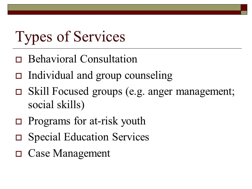 Types of Services Behavioral Consultation Individual and group counseling Skill Focused groups (e.g. anger management; social skills) Programs for at-