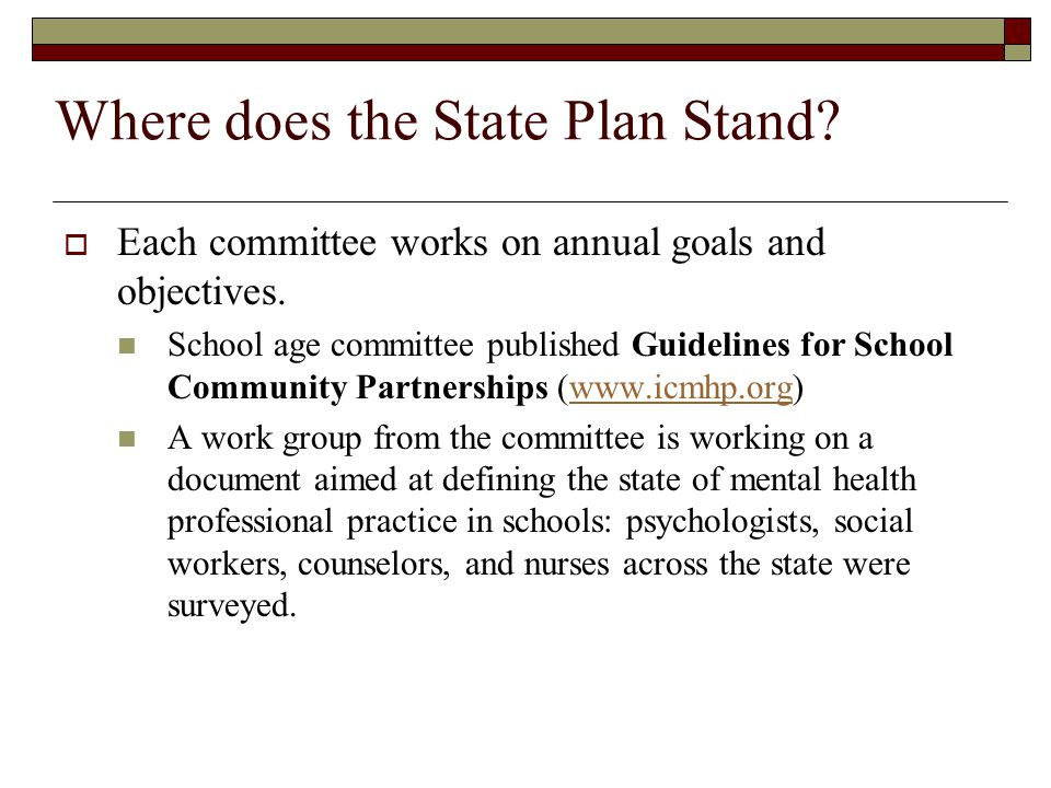 Where does the State Plan Stand? Each committee works on annual goals and objectives. School age committee published Guidelines for School Community P