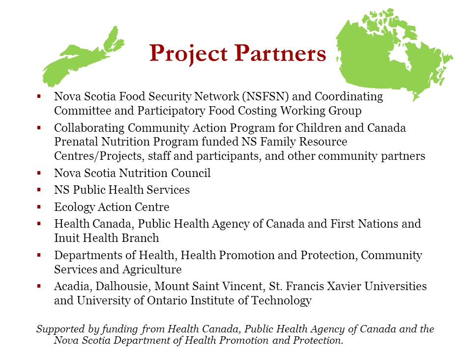 Project Partners Nova Scotia Food Security Network (NSFSN) and Coordinating Committee and Participatory Food Costing Working Group Collaborating Community Action Program for Children and Canada Prenatal Nutrition Program funded NS Family Resource Centres/Projects, staff and participants, and other community partners Nova Scotia Nutrition Council NS Public Health Services Ecology Action Centre Health Canada, Public Health Agency of Canada and First Nations and Inuit Health Branch Departments of Health, Health Promotion and Protection, Community Services and Agriculture Acadia, Dalhousie, Mount Saint Vincent, St.