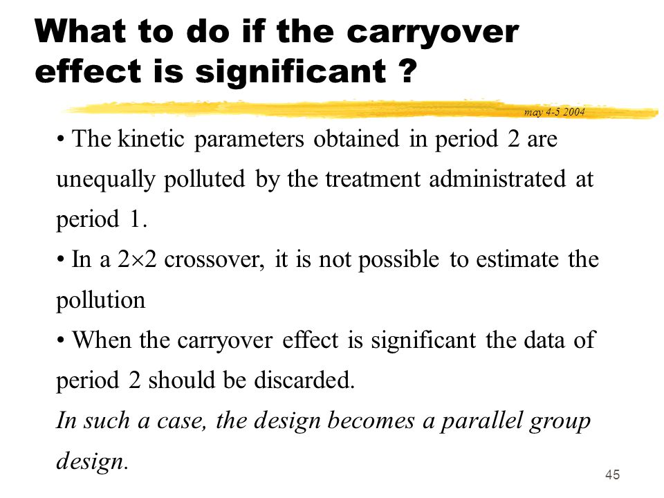 45 What to do if the carryover effect is significant ? may 4-5 2004 The kinetic parameters obtained in period 2 are unequally polluted by the treatmen