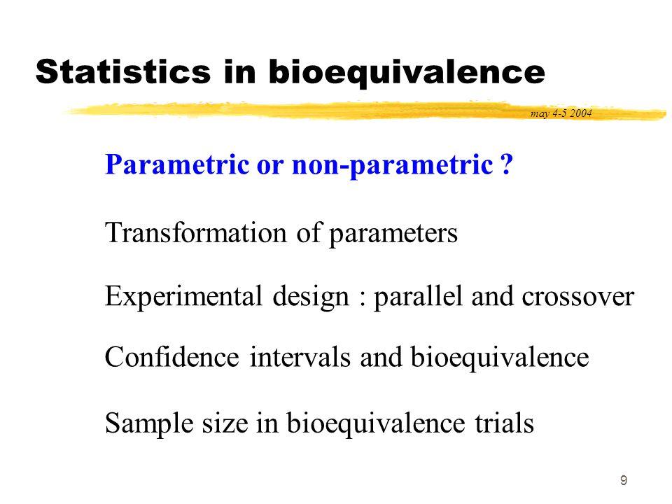 20 Statistics in bioequivalence may 4-5 2004 Parametric or non-parametric .