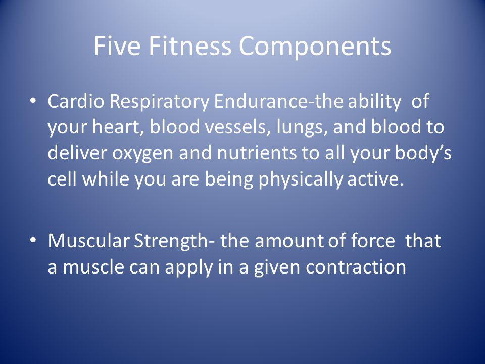 Fitness Components Muscular Endurance is the ability of the muscles to keep working (contract) over a period of time.