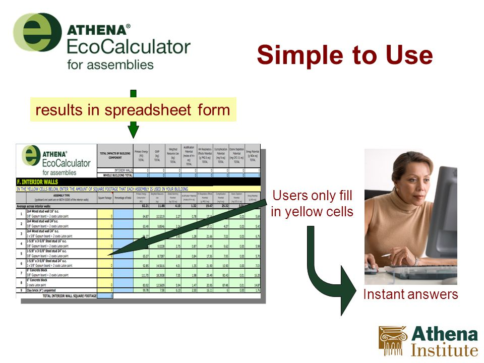 Simple to Use Users only fill in yellow cells Instant answers results in spreadsheet form