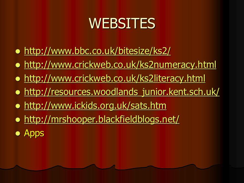 WEBSITES http://www.bbc.co.uk/bitesize/ks2/ http://www.bbc.co.uk/bitesize/ks2/ http://www.bbc.co.uk/bitesize/ks2/ http://www.crickweb.co.uk/ks2numerac