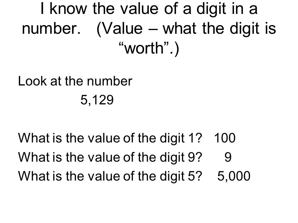 I know the value of a digit in a number.