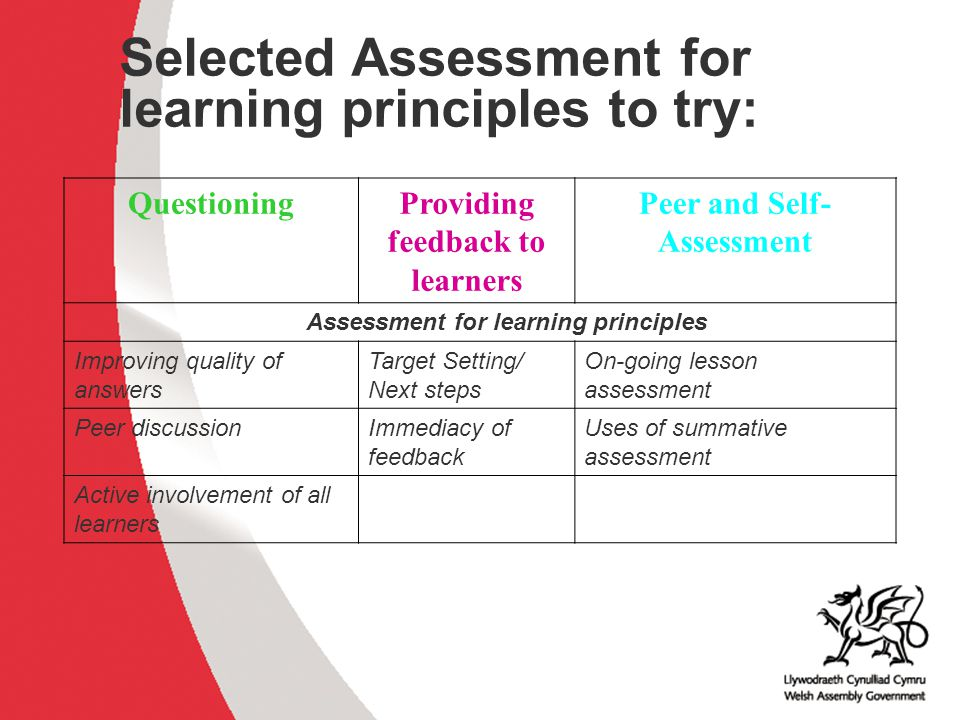 Why develop thinking skills and assessment for learning in the classroom? ACCAC Selected Assessment for learning principles to try: QuestioningProvidi