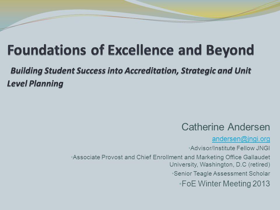 Catherine Andersen andersen@jngi.org Advisor/Institute Fellow JNGI Associate Provost and Chief Enrollment and Marketing Office Gallaudet University, W