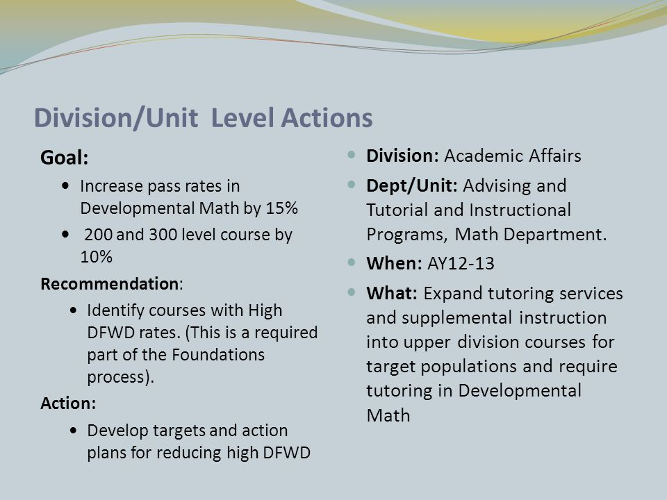 From FoE Action Items to Unit Level Action Plans Intuitional improve retention Academic Affairs Improve pass rates in high DFWD Math Dept Action Plan Require Tutoring TIP Action Plan Increase SI and Tutoring Student Affairs Action Plan Goals become more actionable and assessable as they move from the broadly stated level to the specific program or course level.