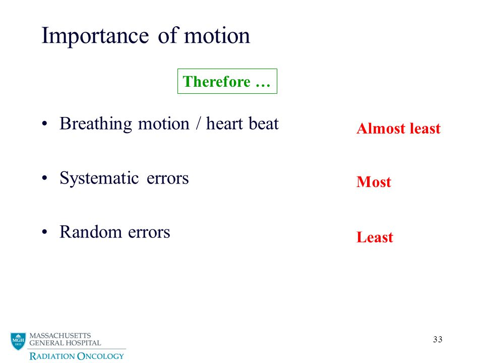 33 Importance of motion Breathing motion / heart beat Systematic errors Random errors Therefore … Most Least Almost least