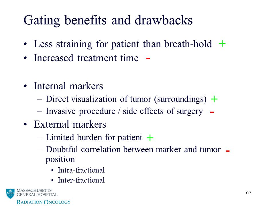 65 Gating benefits and drawbacks Less straining for patient than breath-hold Increased treatment time Internal markers –Direct visualization of tumor