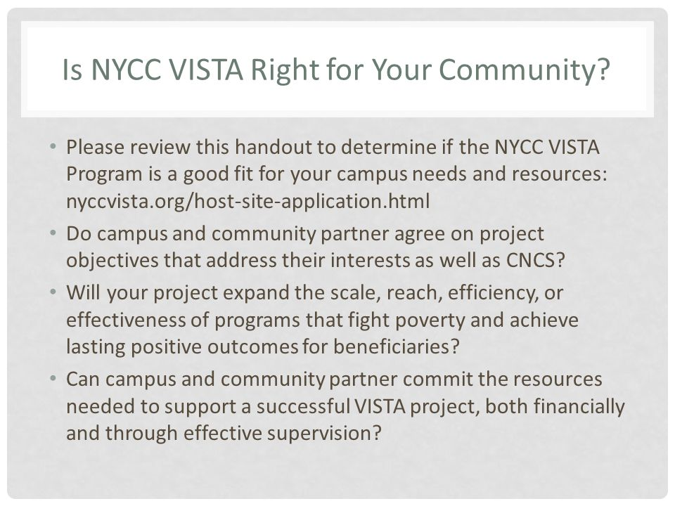 Is NYCC VISTA Right for Your Community.