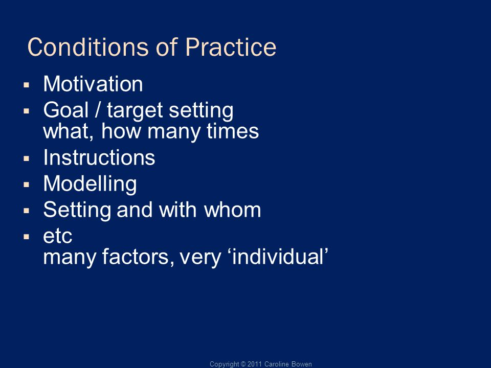 Conditions of Practice Motivation Goal / target setting what, how many times Instructions Modelling Setting and with whom etc many factors, very individual Copyright © 2011 Caroline Bowen