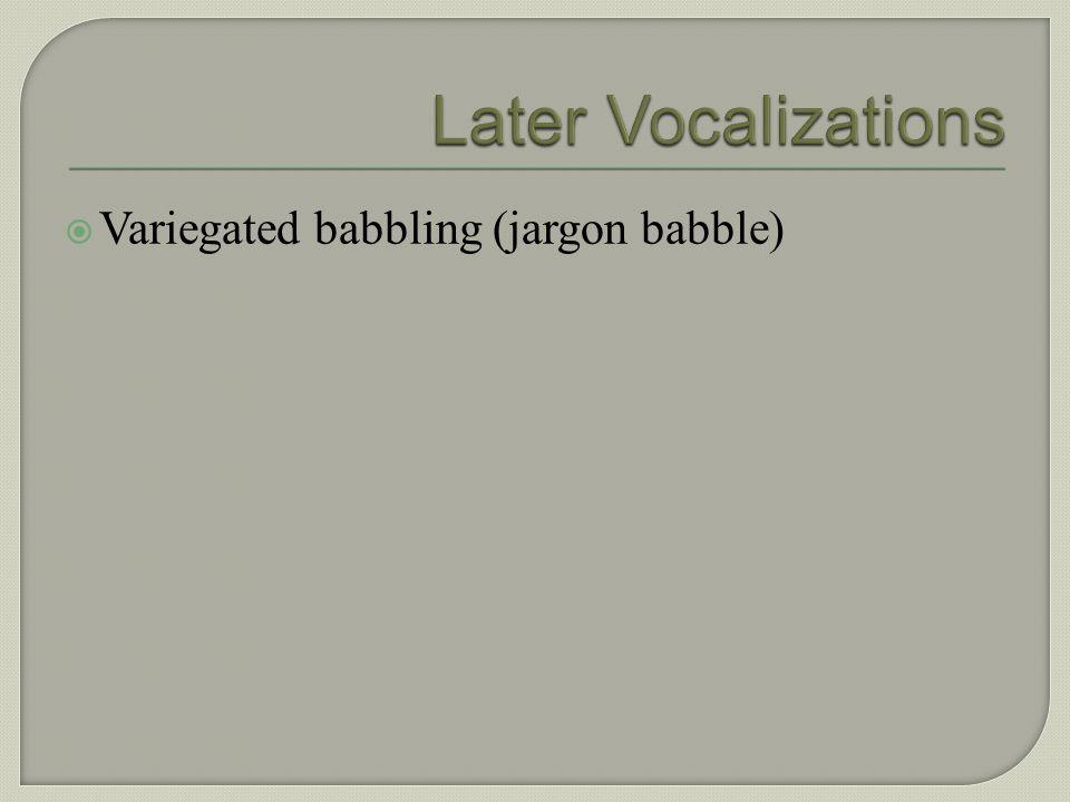 Canonical babbling (reduplicated consonant vowel babbling)