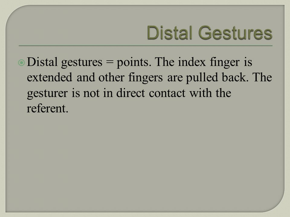 Example of a contact gesture