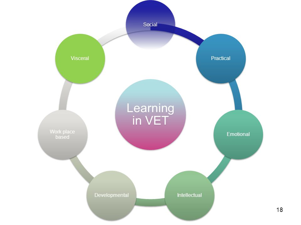 18 Learning in VET SocialPracticalEmotionalIntellectualDevelopmental Work place based Visceral