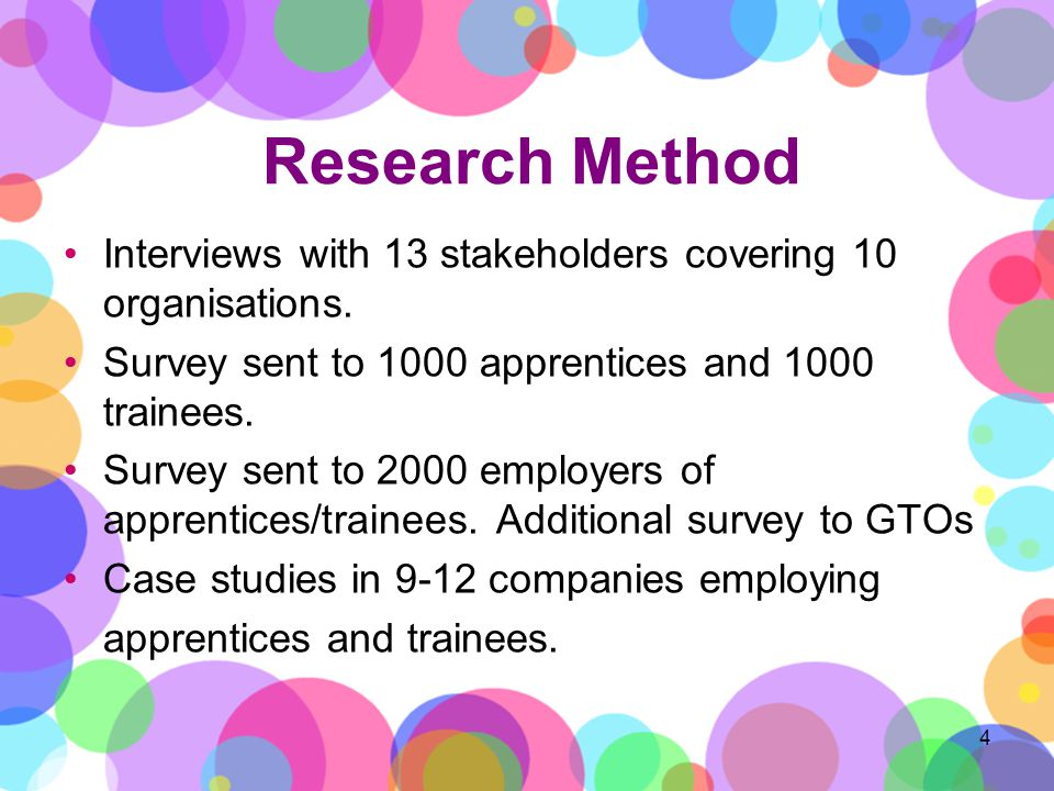 Research Method 4 Interviews with 13 stakeholders covering 10 organisations.