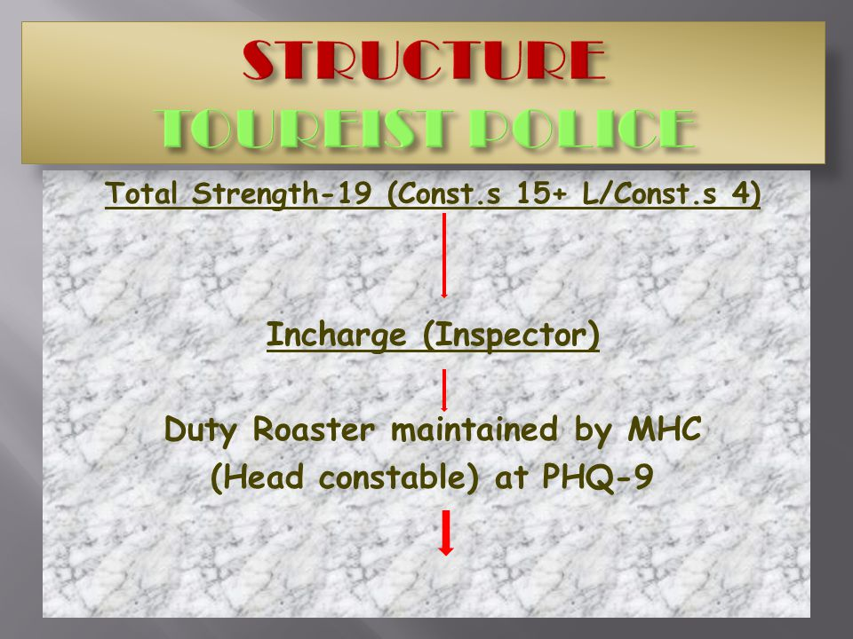 Total Strength-19 (Const.s 15+ L/Const.s 4) Incharge (Inspector) Duty Roaster maintained by MHC (Head constable) at PHQ-9