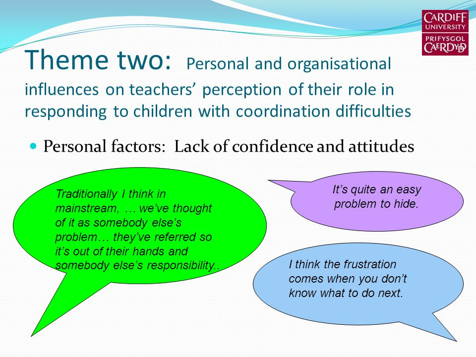 Theme two: Personal and organisational influences on teachers perception of their role in responding to children with coordination difficulties Person