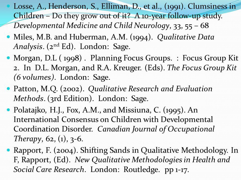 Losse, A., Henderson, S., Elliman, D., et al., (1991).