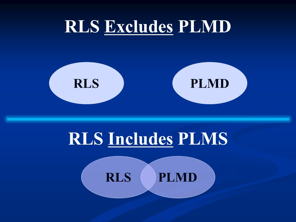 RLS Excludes PLMD RLS Includes PLMS RLSPLMD RLSPLMD