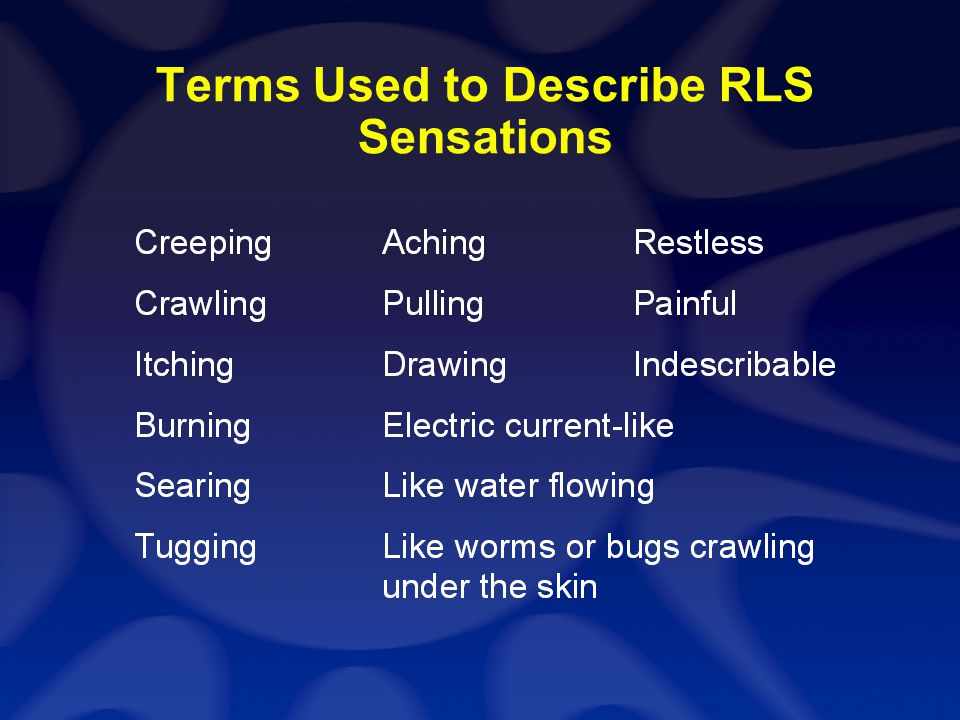 Terms Used to Describe RLS Sensations