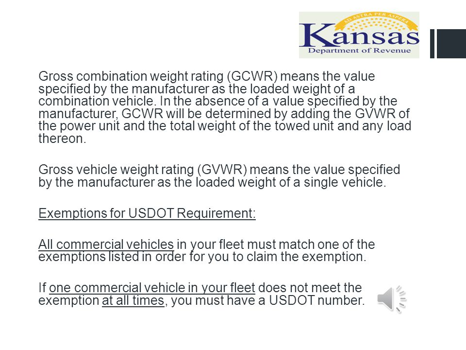 Gross combination weight rating (GCWR) means the value specified by the manufacturer as the loaded weight of a combination vehicle.