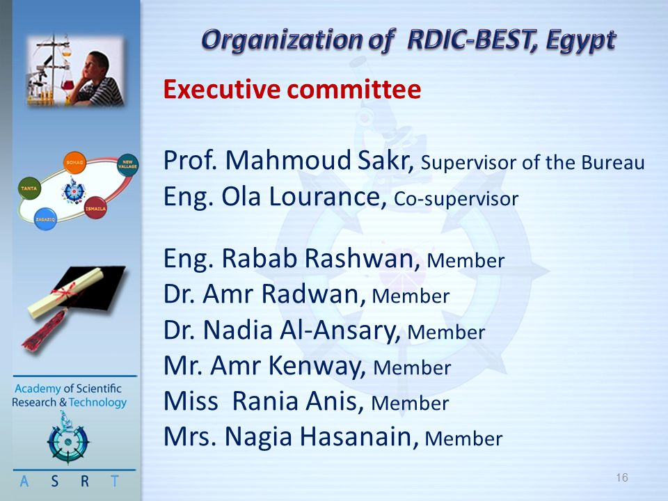 16 Executive committee Prof. Mahmoud Sakr, Supervisor of the Bureau Eng. Ola Lourance, Co-supervisor Eng. Rabab Rashwan, Member Dr. Amr Radwan, Member