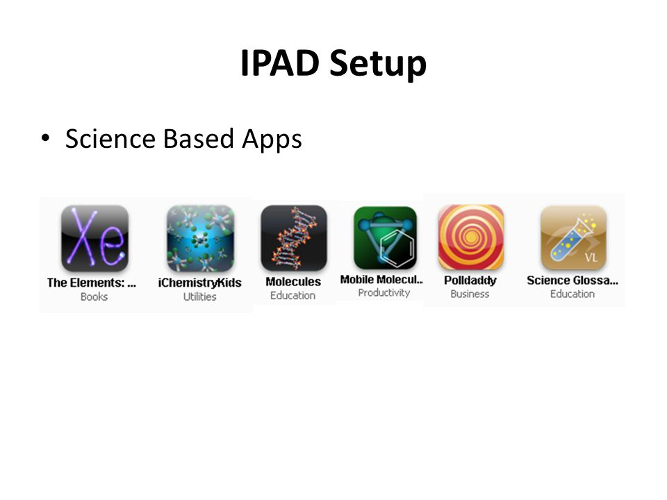 IPAD Setup Science Based Apps