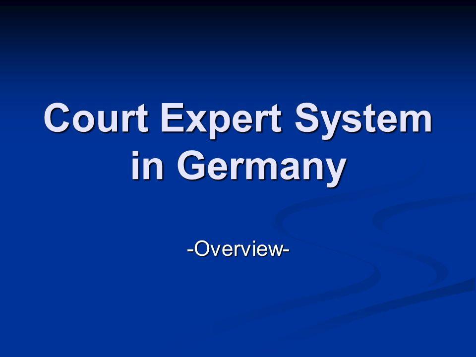 Court Expert System in Germany -Overview-