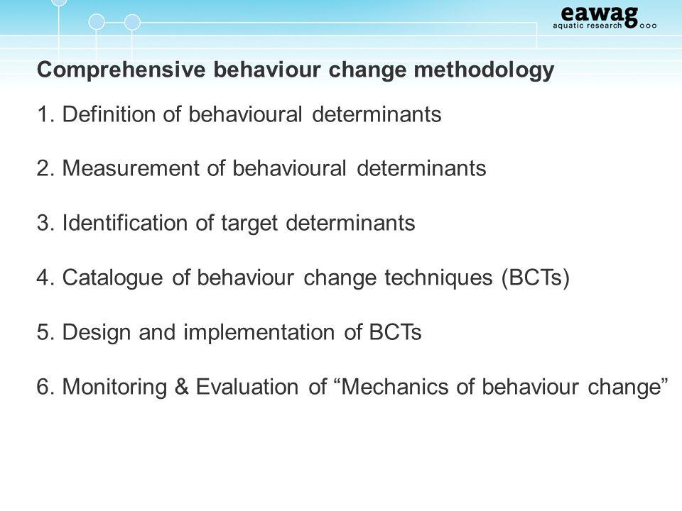 Comprehensive behaviour change methodology 1. Definition of behavioural determinants 2. Measurement of behavioural determinants 3. Identification of t