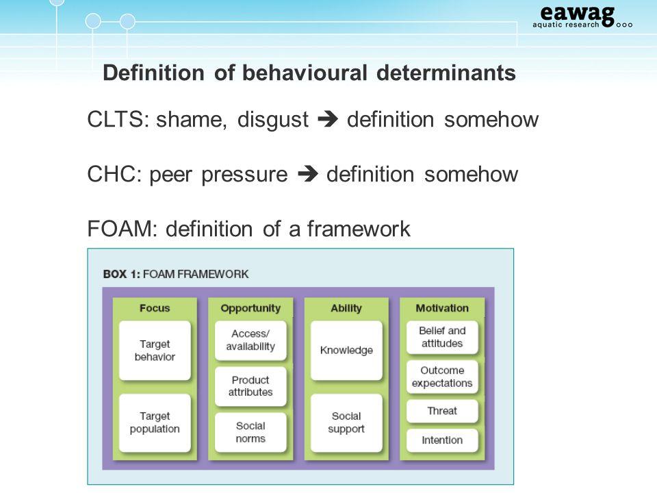 Definition of behavioural determinants CLTS: shame, disgust definition somehow CHC: peer pressure definition somehow FOAM: definition of a framework