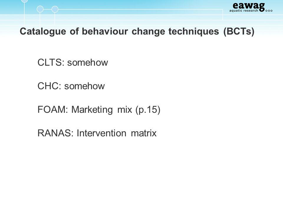 Catalogue of behaviour change techniques (BCTs) CLTS: somehow CHC: somehow FOAM: Marketing mix (p.15) RANAS: Intervention matrix