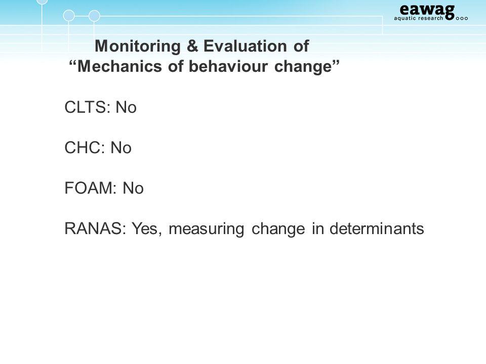 Monitoring & Evaluation of Mechanics of behaviour change CLTS: No CHC: No FOAM: No RANAS: Yes, measuring change in determinants