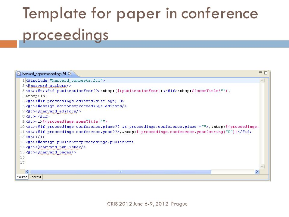 Template for paper in conference proceedings CRIS 2012 June 6-9, 2012 Prague