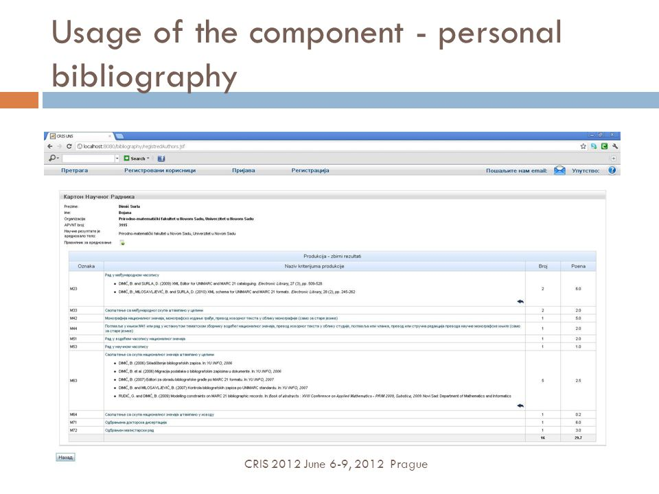 Usage of the component - personal bibliography CRIS 2012 June 6-9, 2012 Prague