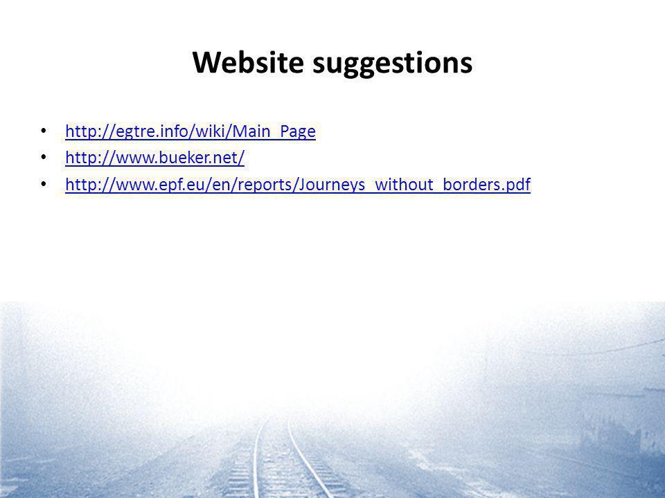 Website suggestions http://egtre.info/wiki/Main_Page http://www.bueker.net/ http://www.epf.eu/en/reports/Journeys_without_borders.pdf