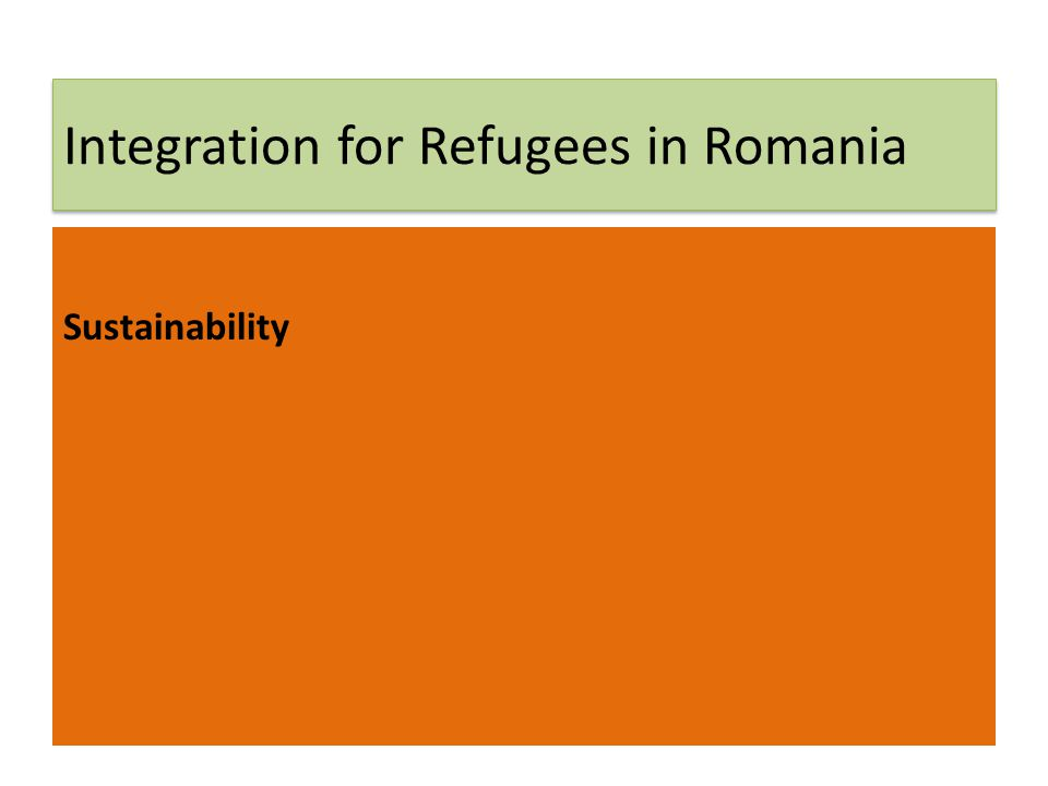 Integration for Refugees in Romania Sustainability