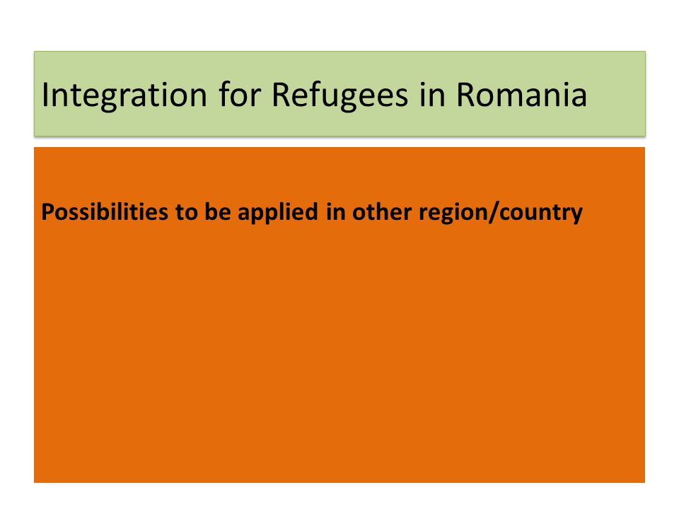 Integration for Refugees in Romania Possibilities to be applied in other region/country