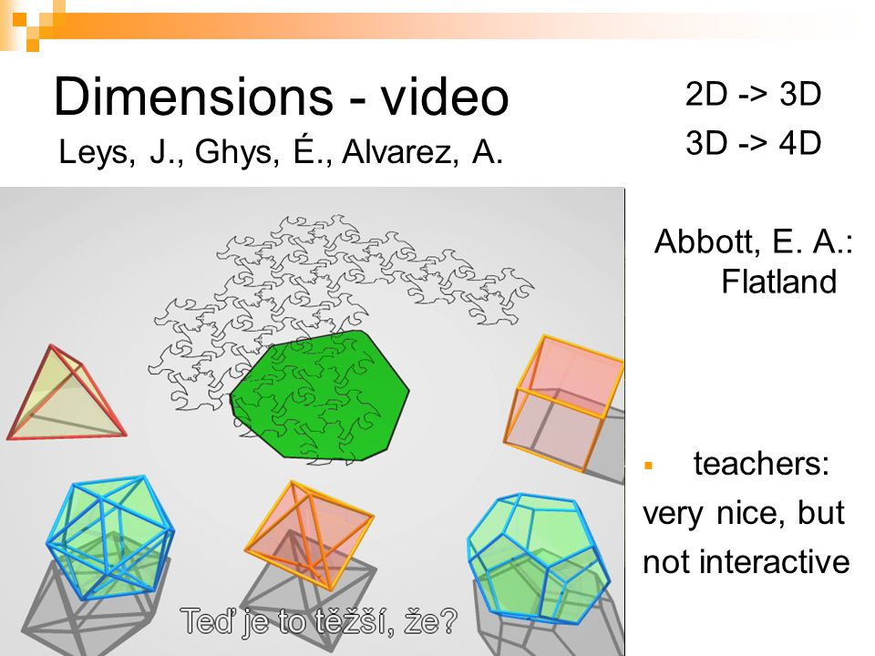 Dimensions - video 2D -> 3D 3D -> 4D Abbott, E. A.: Flatland teachers: very nice, but not interactive Leys, J., Ghys, É., Alvarez, A.