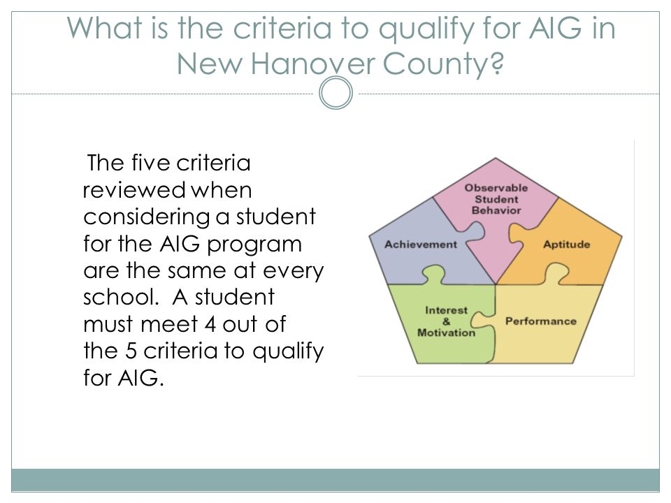 What is the criteria to qualify for AIG in New Hanover County? The five criteria reviewed when considering a student for the AIG program are the same