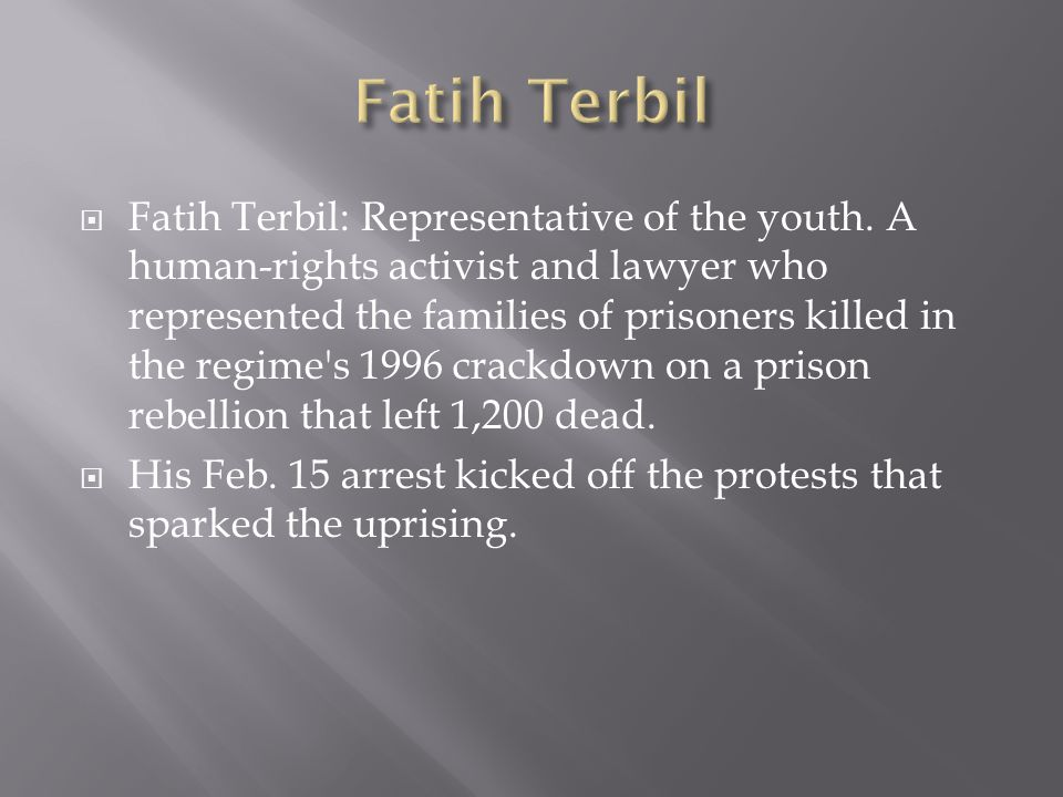 Fatih Terbil: Representative of the youth. A human-rights activist and lawyer who represented the families of prisoners killed in the regime's 1996 cr