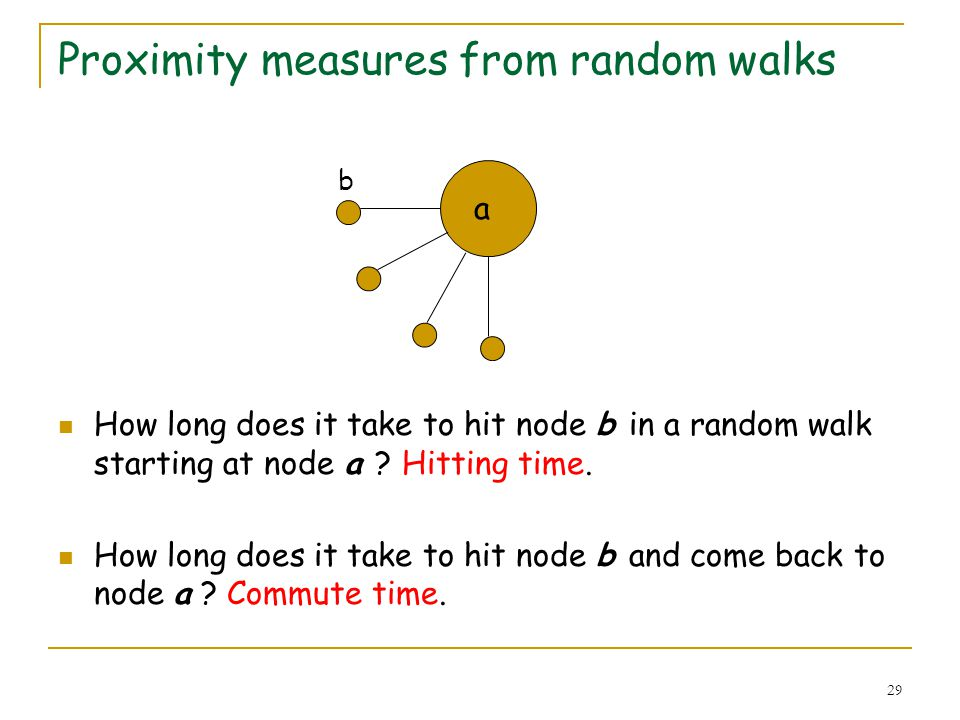 29 Proximity measures from random walks How long does it take to hit node b in a random walk starting at node a ? Hitting time. How long does it take