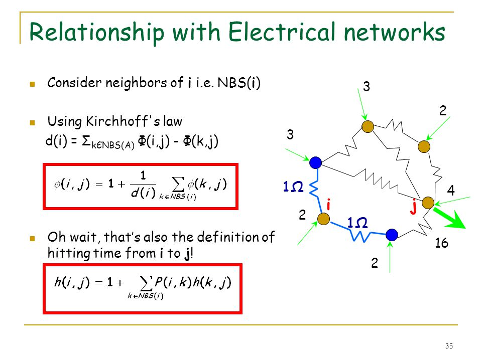 35 Relationship with Electrical networks Consider neighbors of i i.e. NBS(i) Using Kirchhoff's law d(i) = Σ kЄNBS(A) Φ(i,j) - Φ(k,j) Oh wait, thats al