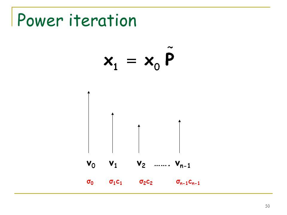 50 Power iteration v 0 v 1 v 2 ……. v n-1 σ 0 σ 1 c 1 σ 2 c 2 σ n-1 c n-1