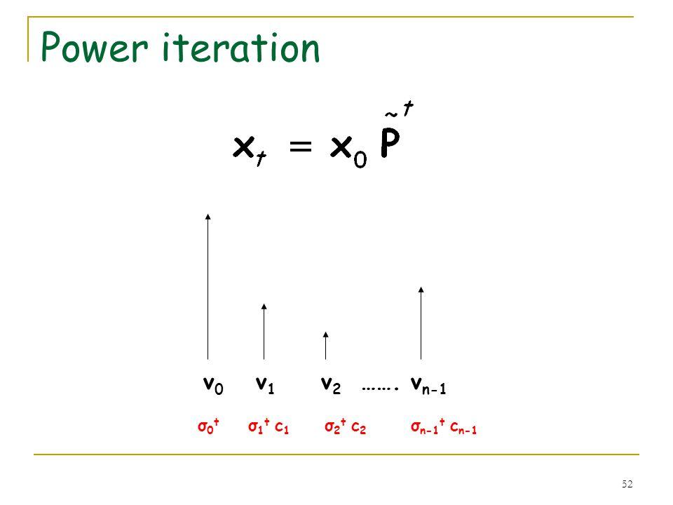 52 Power iteration v 0 v 1 v 2 ……. v n-1 σ 0 t σ 1 t c 1 σ 2 t c 2 σ n-1 t c n-1