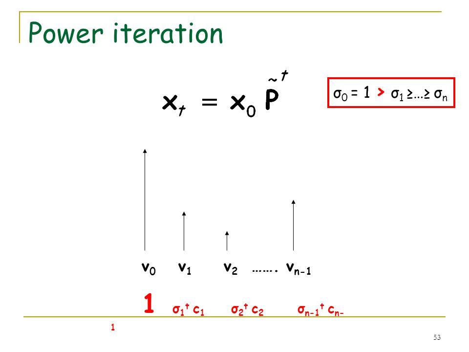 53 Power iteration v 0 v 1 v 2 ……. v n-1 1 σ 1 t c 1 σ 2 t c 2 σ n-1 t c n- 1 σ 0 = 1 > σ 1 … σ n